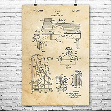 Steinway Piano Poster Art Print, Piano Wall Art, Piano Patent, Piano Player Gift, Piano Teacher Gift, Pianist, Patent Vintage Paper (8  x 10 )