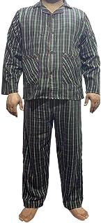 Qamfort Pure Cotton Checked Mens Pyjamas Set Loungewear Sleepwear Set Bottom Summer Nightwear for Men Sleeping Suit Pjs Cl...
