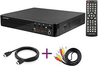 LONPOO Lecteur DVD Compact, Multi-Régions 1/2/3/4/5/6, Port USB, Télécommande, Câble..