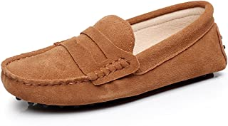 rismart Women's Classic Suede Driving Loafers Shoes Soft Leather Moccasin Slippers