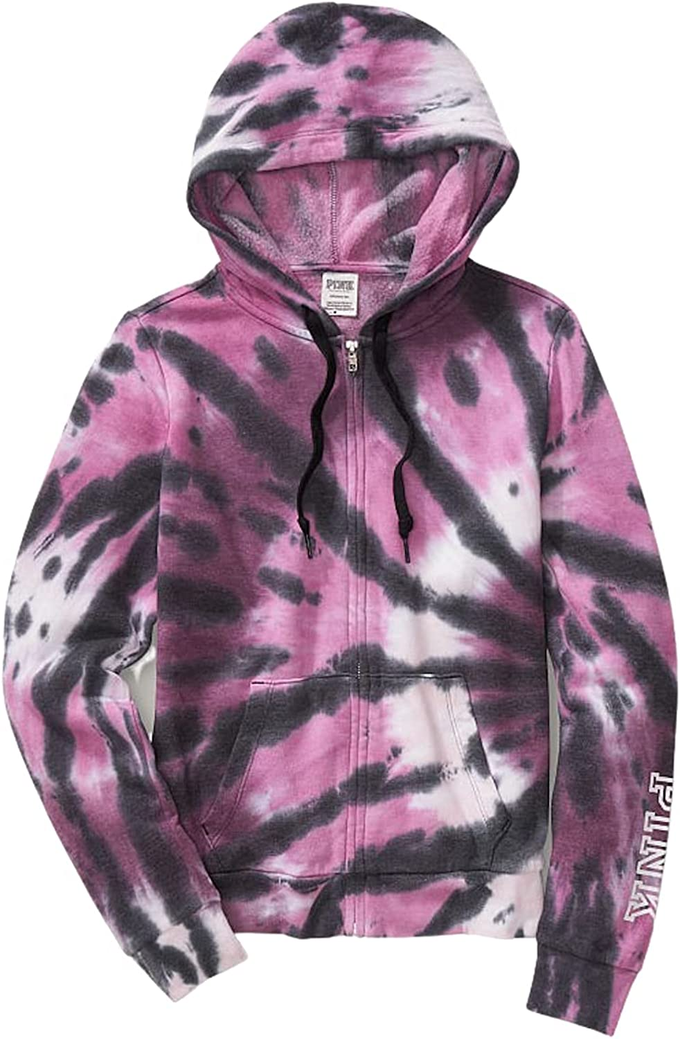 Pink Everyday Lounge Relaxed Full Zip Fleece Hoodie Color Tie Dye Pink Size Large NWT