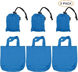 """Browint Reusable Grocery Bags Set of 3, Parachute Nylon Shopping Bags Folded into Attached Pouch, Heavy Duty Tote Bags, Max. Hold 110 lbs, Washable Lightweight Extra Large 19""""x 19"""" Blue"""