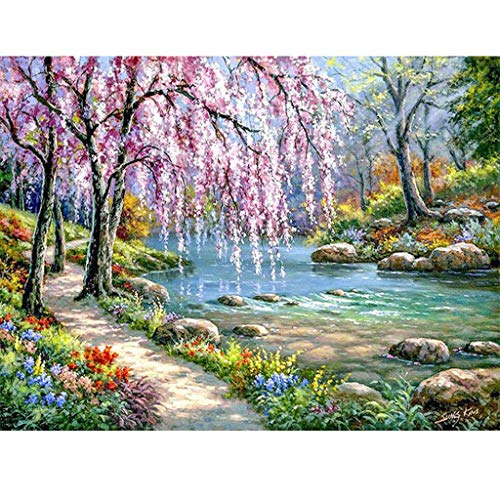"""Paint by Numbers for Adults,DIY Paint by Numbers Canvas Oil Painting Kit for Kids,20"""" W x 16"""" L Drawing Paintwork with Paintbrushes, Acrylic Pigment - Beautiful View Creek"""