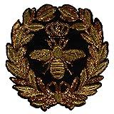 1 corona de lentejuelas doradas, parches de abeja, bordado, ropa, manualidades,...