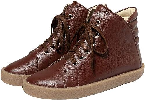 botas para mujer De Piel Genuina De Invierno para mujer Que Caminan De Forma Duradera Y con Botines con Cordones