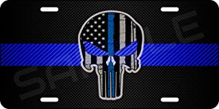 Olds New Again Aluminum Blue Line Police Lives Matter Carbon Fiber License Plate You Choose IT! (Punisher, 12x6 in)