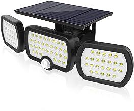 JESLED Solar Lights Outdoor with Motion Sensor, 3 Heads Adjustable Security Spotlight, 80LEDs Flood Lights Motion Detecte...