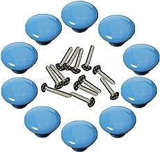 10 Stks Ronde Vorm Keramische Deurknop Dressoir Lade Locker Pull Handvatten Kast Knoppen met 3 Grootte Schroeven (Blauw)