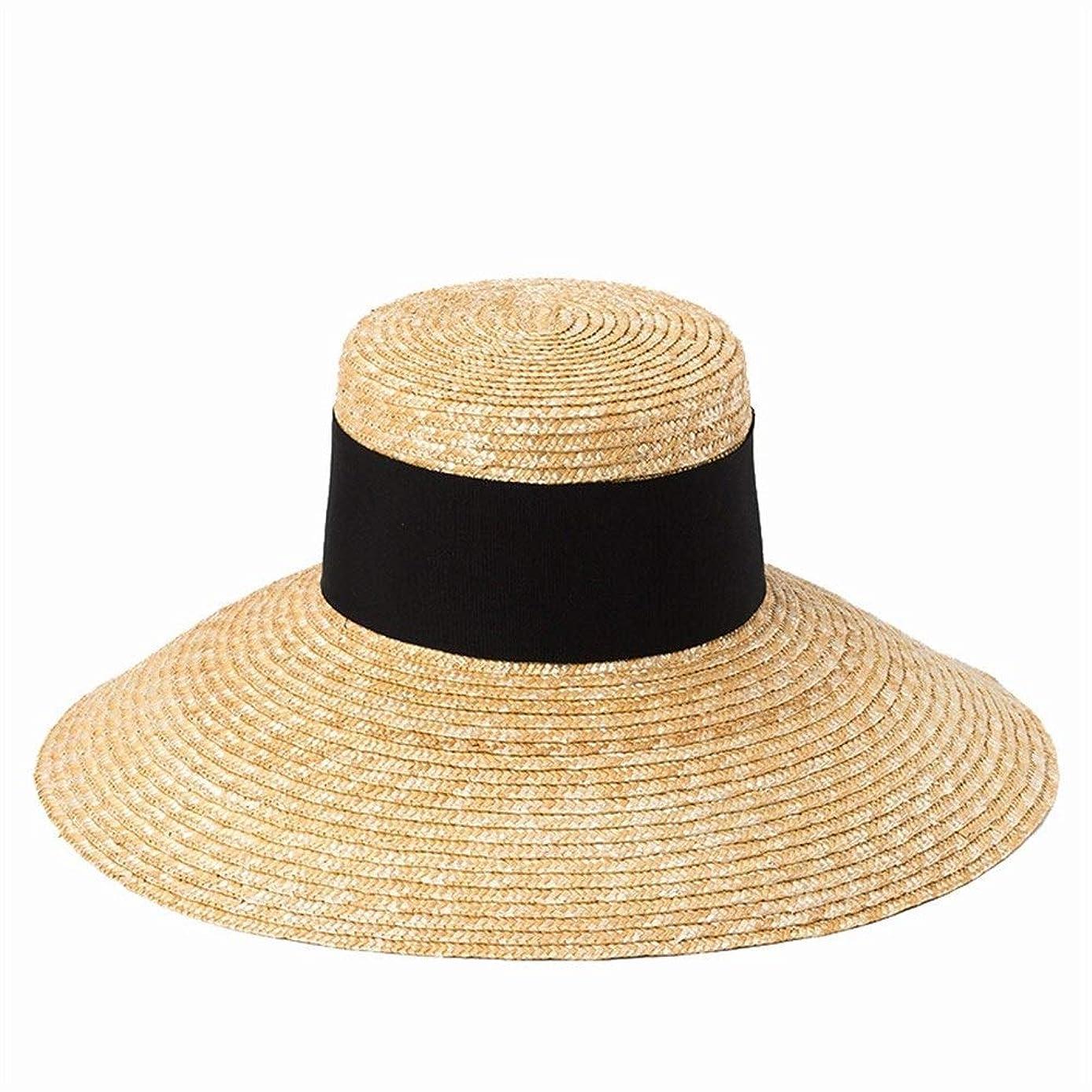 滴下摩擦勝つシンプルでスタイリッシュなフラットトップ大流域麦わら帽子屋外旅行日焼け止め日焼け止めビーチ麦わら帽子