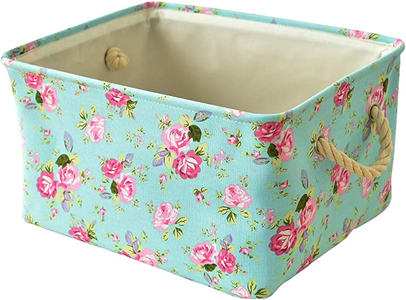 Inough Storage Bins Collapsible Storage Basket Toys Clothes Crafts Organizer Fabric Laundry Baskets Storage Bin With Handle For Underbed Closet Cube Medium Floral