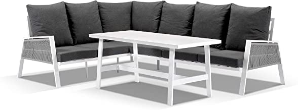 Seattle Outdoor Aluminium & Rope Lounge Setting with Coffee Table - Frost White, Frost White - Outdoor Aluminium Lounges, ...