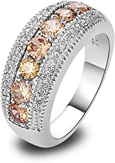 Psiroy 925 Sterling Silver Created Pink Topaz Filled Half Eternity Band Ring