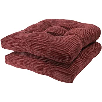 Arlee Memory Foam, Non-Skid Seat Cushion, Set of Two (2) Chair pad, 16 Inch, Burgundy Red, 2 Count