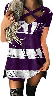 Gocgt Women's Casual Color Block Patchwork Short Sleeve Front Cross V Neck Loose Shirt T Shirts