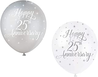 """Unique Party 56123 - 12"""" Pearlised Latex Assorted Happy 25th Anniversary Balloons, Pack of 5"""