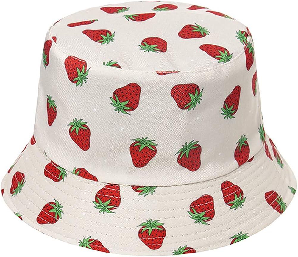 KEKY Adult Strawberry Bucket Hat Pink Print Travel Beach Fisherman Cap Reversible Wide Brim Hats Women Men Teens