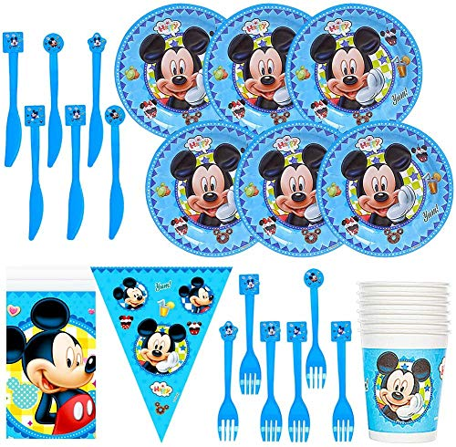 Mickey Mouse Mickey Cutlery Set,CYSJ 26 Piece Decoration for Birthday Party Sets, Plates, Cups and Tablecloth for a Children's Birthday Party Supplies