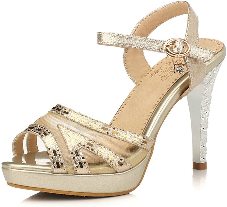 AIWEIYi Womens Pump shoes Ankle Strap Stilettos High Heel Dress Sandals gold