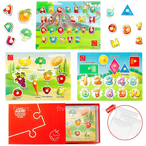 Puzzles for Kids Ages 2-4 - Fun Toddler Learning Activities - Great for Preschool Learning - Wooden Puzzles for Toddlers with envelopes Includes Alphabet, Numbers & Shapes, Fruits & Vegetables