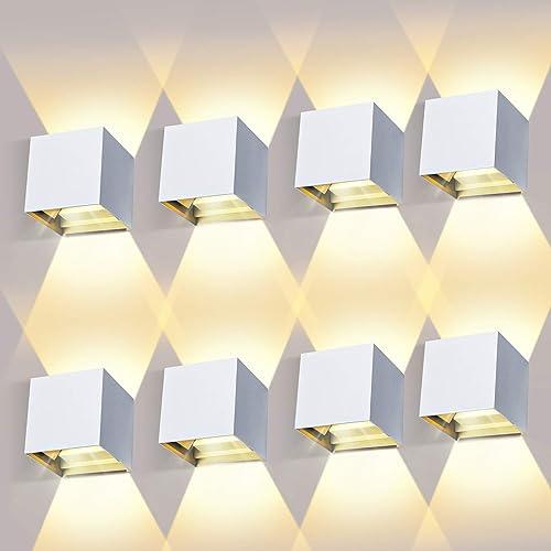 8 Piezas Aplique Pared Interior/Exterior 12W 3000K Aplique de pared Ángulo de Haz Ajustable Aplique Pared LED Imperme...