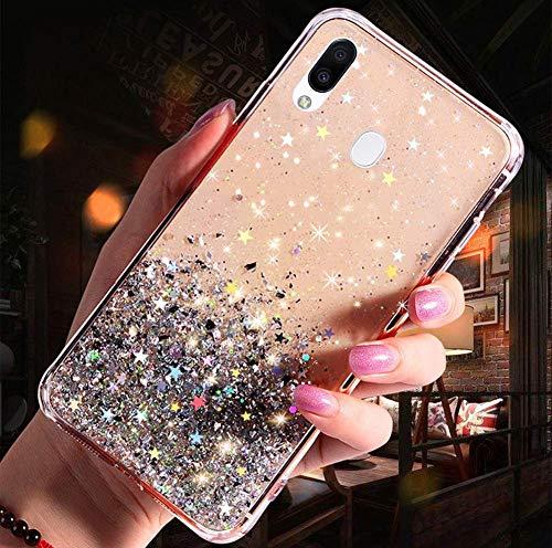 Uposao Kompatibel mit Samsung Galaxy M20 Hülle Glänzend Glitzer Strass Diamant Sterne Transparent TPU Silikon Handyhülle Weiche Dünn Durchsichtig Schutzhülle Tasche Crystal Case,Silber