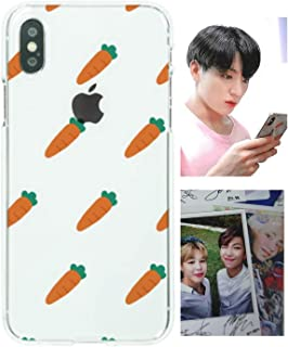 BTS Bangtan Boys Jungkook Phone Case + Photocard, Compatible with iPhone X/XS, XS Max, XR, 8/7, 8 Plus/7 Plus, 6/6S, 6 Plus/6S Plus Cute Carrot Pattern for Army(iPhone 8/7)