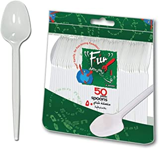 Fun® Everyday Disposable Plastic Spoon Set 6.5 inch - White - Pack of 50
