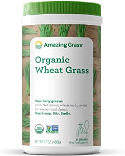 Amazing Grass Wheat Grass Powder: 100% Whole-Leaf Wheat Grass Powder for Energy, Detox & Immunity Support, 60 Servings