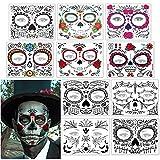 Tatuaje cara temporales Halloween, 10 hojas pegatinas de tatuajes de cara de Halloween Día de los muertos Etiqueta engomada del tatuaje de la cara del cráneo para Halloween Prop cosplay