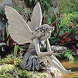 Garden Fairy Ornaments Sculpture Garden Figurine Sitting Fairy Statue Angel Garden Statue Sculpture, Outdoor Garden Realistic Figurine Decor, Antique Resin Ange Craft (resin)