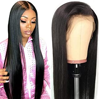 Grace Plus Hair Glueless Lace Front Human Hair Wigs 10-28 Inch Pre Plucked Hairline Bleached Knots 150% Brazilian Straight Remy Human Hair Wigs (26inches, 150% Density)