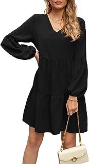 Women Sweet & Cute Tunic Dress V Neck Casual Loose Flowy Swing Shift Dresses