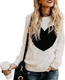 Women's Casual Sweater Heart Pattern Patchwork Pullover Long Sleeve Crew Neck Knits Loose Top