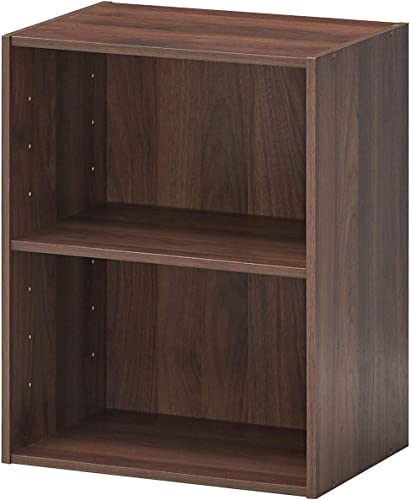 wholesale Giantex Bookshelf and Bookcase 2-Layer Storage Shelf, W/ Large-Capacity Open Storage Space, MDF P2 Veneer, for outlet sale Living Room Bedroom Study Office Multi-Functional Furniture Display Cabinet (Walnut, outlet sale 1) outlet online sale
