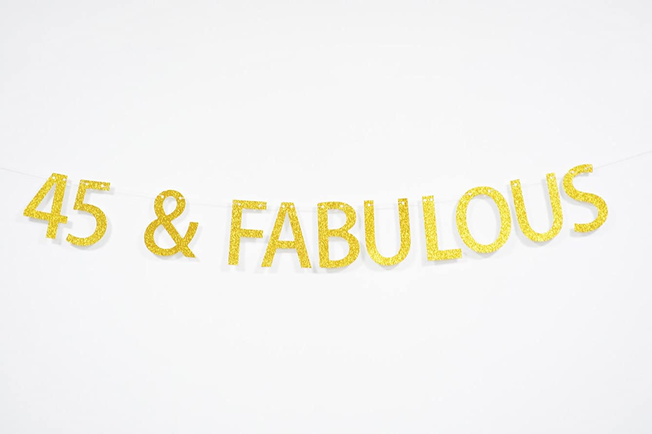 Firefairy 45 and Fabulous Gold Glitter Hanging Sign Banner- 45th Birthday,Anniversary Party Supplies, Ideas and Decorations