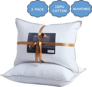 Lofe Bed Pillows for Sleeping, King Size, Goose Down Alternative Pillow 2 Pack, 100% Luxury Cotton Cover, Super Soft Plush Fiber Fill, Adjustable Loft, Relieve Neck Pain, for Side and Back Sleeper
