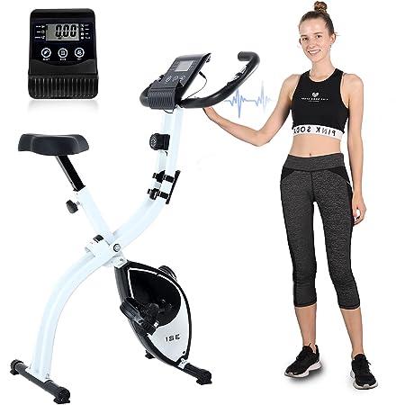 ISE F-Bike Cyclette Pieghevole, Cardio Home Trainer, Cyclette da Casa Allenamento, con Display LCD, 8 Livelli di Resistenza, Supporto Tablet, Sensori delle Pulsazioni Unisex Adulto, Max.120KG, SY-810L