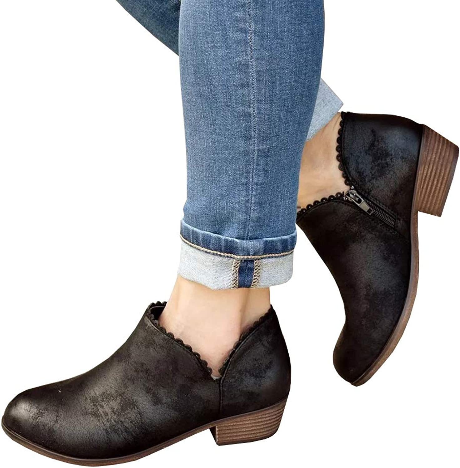 Womens Cut Out Slip On Ankle Booties Chunky Low Heel Casual Western Boots
