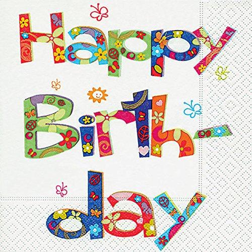 20 Servietten Flower power birthday – Happy birthday/Geburtstag / Geburtstagsfeier 33x33cm
