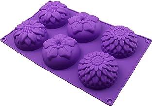 Ijsblokje Zeepvorm 6 holte paarse bloemvormige siliconen handgemaakte hars schimmel 3D-paneel ontwerper DIY beton sieraden...