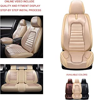 Oasis Auto OS-025 Leather&Cloth Universal Car Seat Covers Automotive Vehicle Cushion That Fits All Sedan Most SUV and Small Pick-Up Truck (TAN, Full Set)