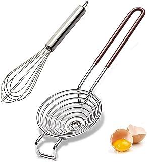 2 pack Upgrade Egg Separator Stainless Steel Whisk Set Kitchen Separator Tool for Cooking Baking and Stirring Egg yolk sep...