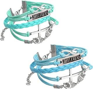 Jovivi Multilayer Charm Infinity Love Best Friend Wish Wrap Cuff Bracelet,2pc