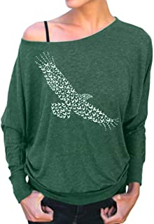 Women Shirt Eagle Print Blouse Christmas Sweatshirt Sexy Pullover Tops Solid Hoodies Coat O Neck Jumpers