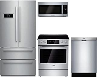 "Bosch 4-Piece Stainless Steel Kitchen Package with B21CL80SNS 36"" French Door Refrigerator, HEI8054U 30"" Slide In Electric Range, HMV5053U 30"" Over the Range Microwave, and SHS5AVL5UC 24"" Fully Integr"