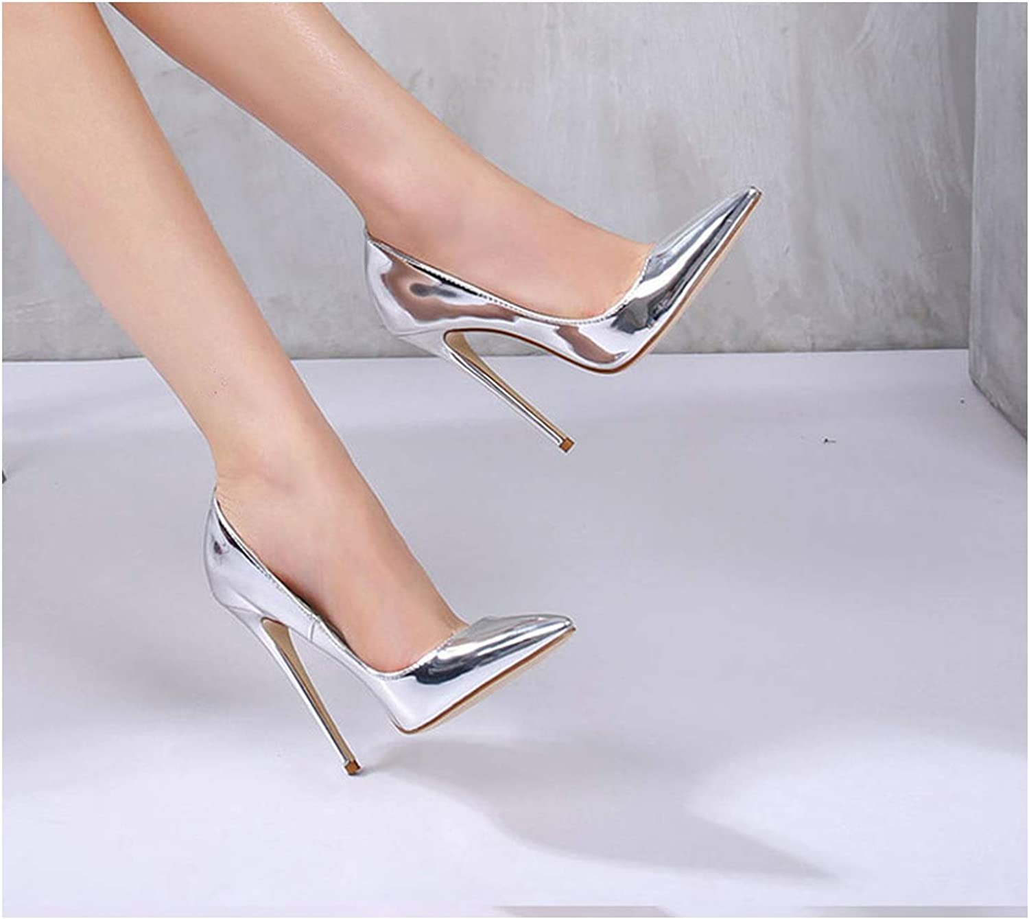 Women Pumps High Heels Silver Sexy High Heels shoes for Women Stilettos Wedding Party shoes,12cm,12