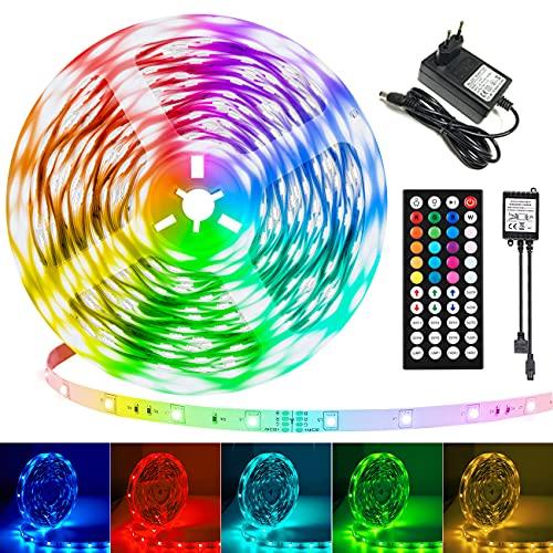 Striscia LED da 20 m/65,6 Ft, con telecomando a 44 tasti, con musica, RGB cambiacolore, illuminazione LED 5050, per cucina, camera da letto, casa e armadio