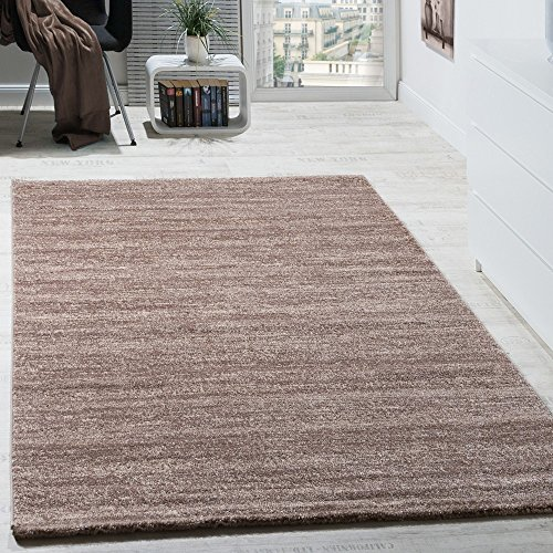 Paco Home Teppich Kurzflor Modern Gemütlich Preiswert Mit Melierung Braun Creme Beige, Grösse:70x140 cm