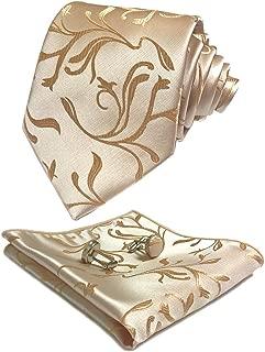 CANGRON Floral Tie Woven Men's Necktie Pocket Square Cufflinks Set LSH8ZH