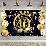 TOPHOPE 40 Geburtstag Dekoration Schwarz Gold, 40.